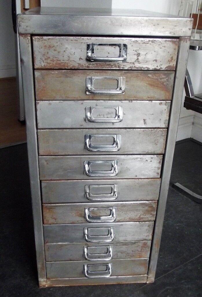 Vintage 10 Draw Metal Filing Cabinet Industrial Furniture