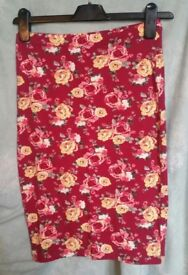 Forever 21 skirt s small floral burgundy bodycoon tight work office new