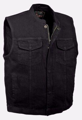 Milwaukee Leather Men's Concealed Snap & Zipper -Denim Club Style Vest - MDM3000