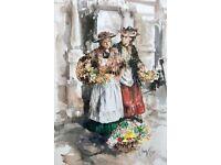 GORDON KING (b.1939) TWO FLOWER SELLER GIRLS, LARGE ORIGINAL SIGNED WATERCOLOUR