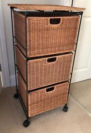3 drawer wicker basket