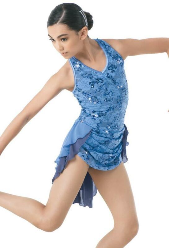 Dance Costume Intermediate OR XL Child Blue Lavender Lace Lyrical DUET Weissman
