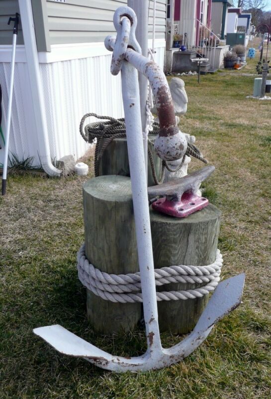 """Old Large Kedge Anchor, 50"""" Shaft, 100lbs. Cast Iron, Nice Condition"""