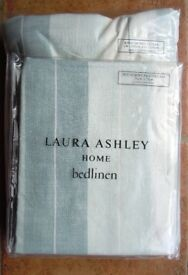 LAURA ASHLEY KING SIZE DUVET COVER & 2 PILLOW CASES, STRIPED, SEASPRAY SOPHIE, DUCK EGG, NEW