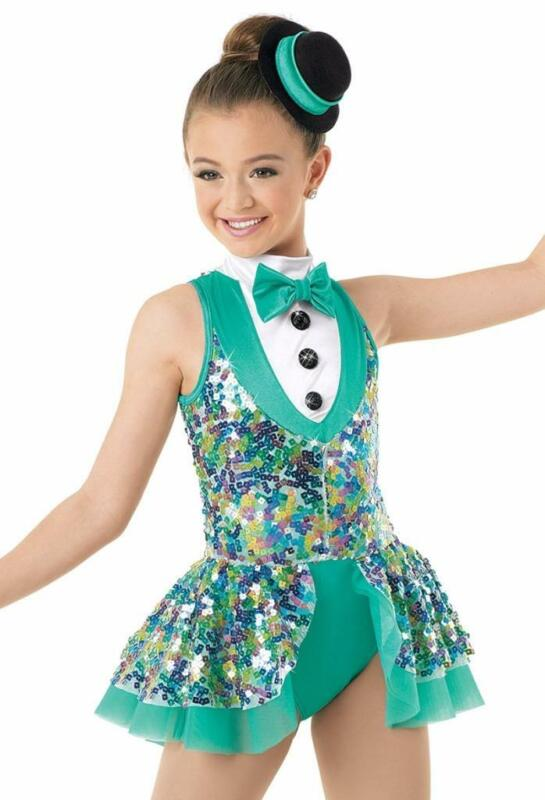 Dance Costume Large Child Green Sequin Suit Jazz Tap Circus Solo Weissman