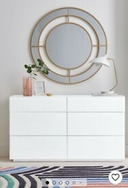 NEXT chest of drawers- tempered glass in white