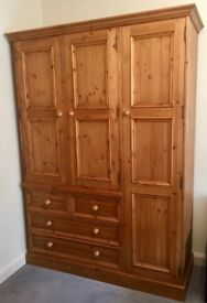 Large Solid Pine Triple Wardrobe with Drawers