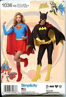 Super Girl and Batgirl - Simplicity Sewing Pattern -  Misses Sizes 14-22 - Batgirl And Supergirl Costumes