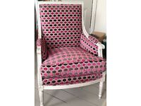 French style armchair from Andrew Martin upholstered in Osborne & Little fabric
