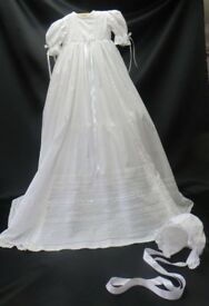 Handmade - White Victorian Style Christening Gown, Cotton lawn, Heirloom Sewing - MARTHA
