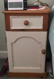 2 Number Antique Pine/Cream Shabby Chic Bedside Cabinets.