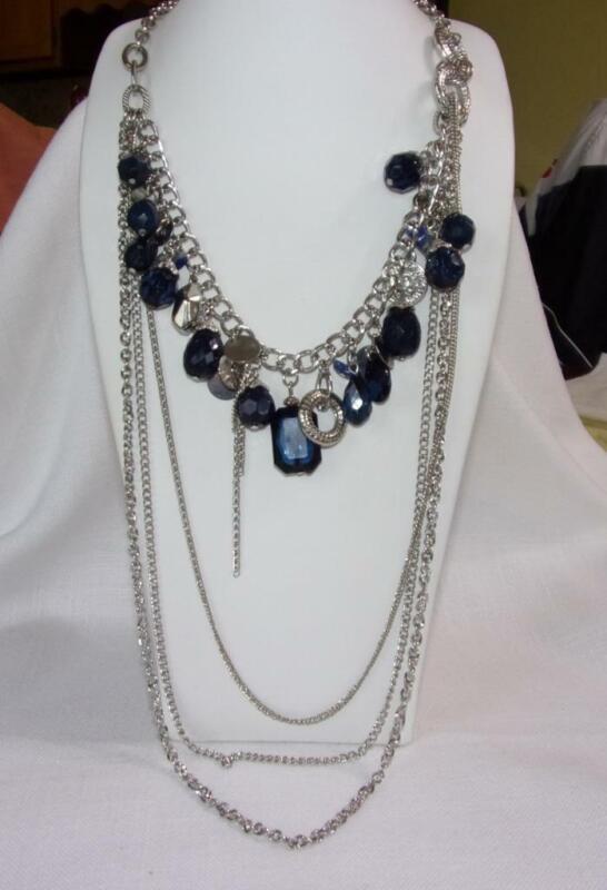 Asymmetrical Silver Tone 4-Chain Necklace w Blue Glass Beads, Lapis, Discs,