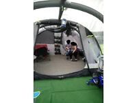 AIRGO SIRRUS 6 INFLATABLE 6 PERSON TENT + AIRGO CIRRUS 6 INFLATABLE PORCH + WOODEN STORAGE SHED