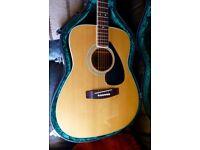 Vintage Yamaha FG-180 jumbo acoustic guitar, Shadow pickup, tuner & hard shaped case. v g condition