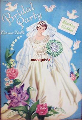 VINTAGE UNCUT 1950 BRIDAL PARTY PAPER DOLLS~#1 REPRODUCTION~NOSTALGIC SET!