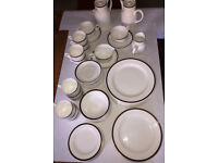 Wedgwood 9-place bone china dinner service (plus extra pieces).