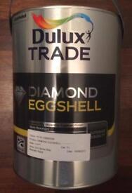 2x unopened 5ltr tins of Dulux Trade Diamond Egg Shell tinted white paint.