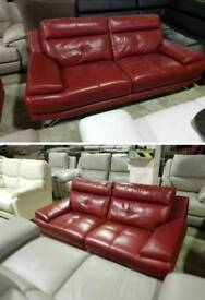 Red leather 3 & 2 seater sofa