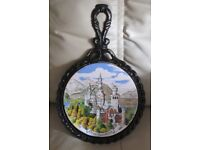 TRIVET/POT HOLDER/COUNTER SAVER - black wrought iron, coloured picture Neuschwastein Castle Germany