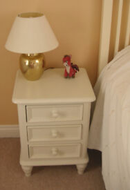 Off white bedside cabinet, chest in excellent condition