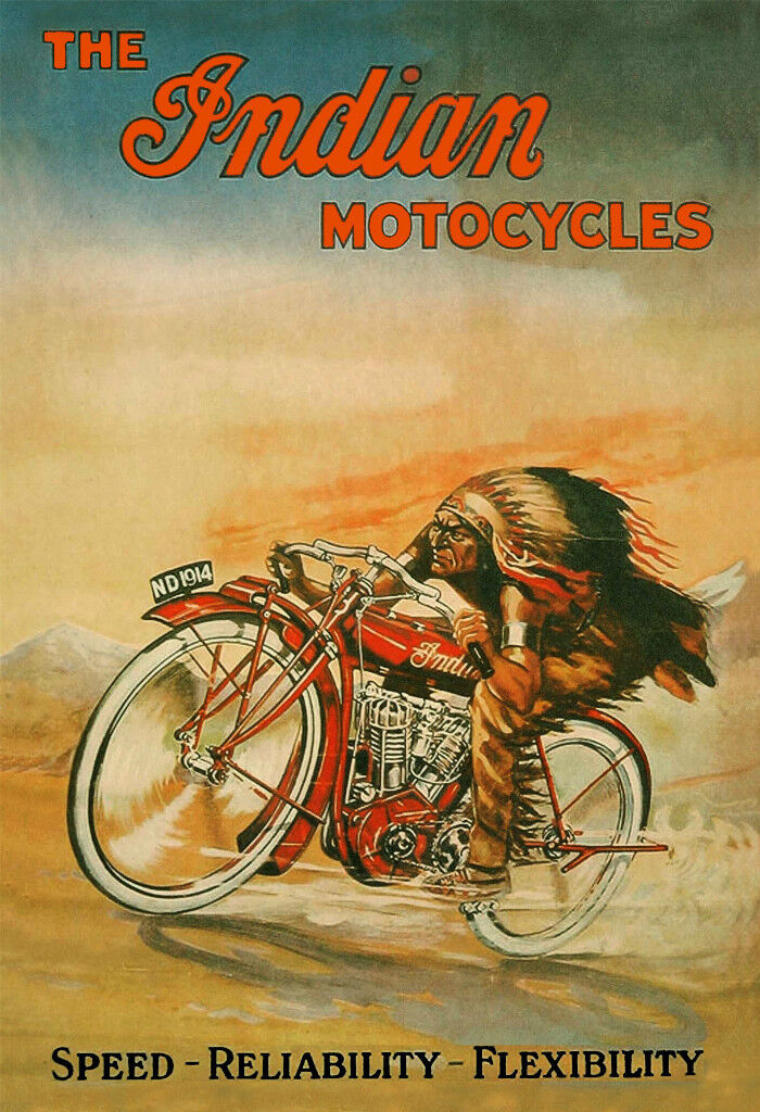Плакаты Motorcycle - Poster/Print - Indian 'Motocycle' Poster - Vintage Style Poster