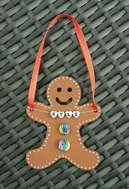 Personalised gingerbread person christmas decoration
