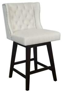 3 - Wingback Swivel Counter Stool in Linen w/Brushed Silver Nailhead, FULLY ASSEMBLED AND COMMERCIAL GRADE