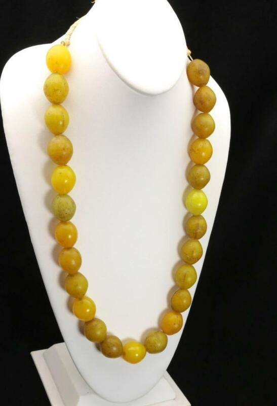 """Vtg Antique Hebron African Large Glass Trade Beads Yellow Beaded Necklace 27"""""""