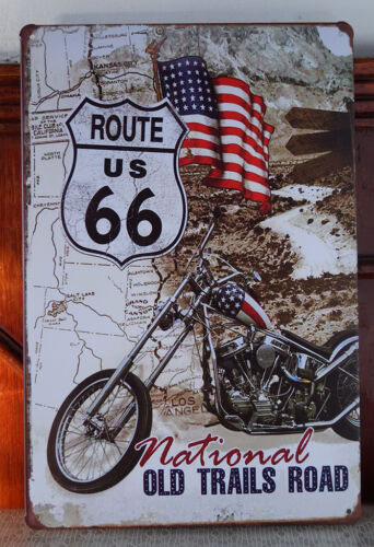 Route 66 Motorcycle Tin Sign Plaque Retro Metal Pub Wall Man Cave Garage Decor