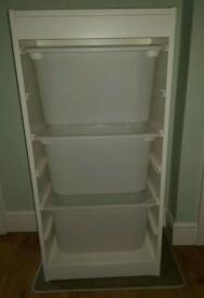 Ikea Trofast Frame and storage drawers boxes white