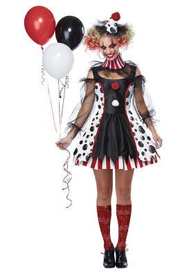 California Costume Twisted Clown Circus Adult Womens Halloween Costume 01435