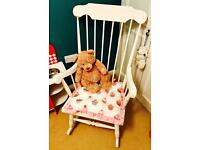 BEAUTIFUL WHITE WOODEN ANTIQUE NURSERY ROCKING CHAIR (SHABBY CHIC) FOR SALE - CUSHION INCLUDED