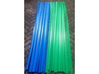 Slat Board Inserts x 74 lengths shop fitting display Brand New Green & Blue 2400mm each length £30