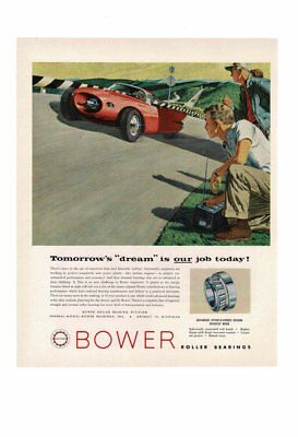 VINTAGE 1956 BOWER ROLLER BEARINGS DREAM RACE CAR OF TOMORROW AD PRINT for sale  Shipping to Canada
