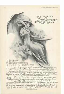 VINTAGE 1909 VICTORIAN ERA LA VOGUE LADY SIPPING TEA UNDER UMBRELLA AD PRINT Vintage Und Vogue