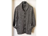 NEXT black/white knitted cardigan, large size, acrylic and wool blend.