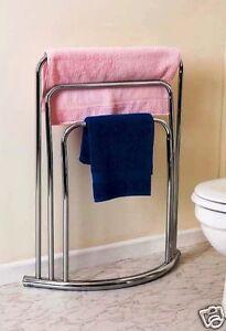 3 tier bar chrome towel stand holder rail rack heavy duty floor free standing ebay. Black Bedroom Furniture Sets. Home Design Ideas