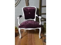 Shabby Chic French Louis Style Chair with Arms Black / Purple Velvet