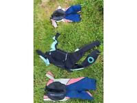 3 child's wetsuits, 2 Gul, 1 CSX, 2 medium, one 2XS