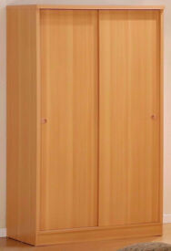 High Quality Solid Wood Wardrobe with 2Sliding Doors Shelves Hanging Rails Drawers - Oak Beech White