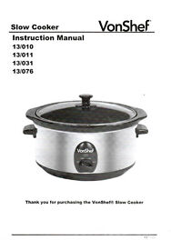 Slow Cooker - Von Shef - 6.5 Litre - Almost New - Only Used Twice - £12