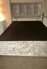 Silver velvet double bed