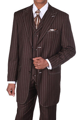 Men's 3 pcs Wool Feel Classic Gangster Pinstripe Suits with Vest 5903 Brown - Gangster Vest