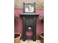 Antique Art Nouveau Fire Surround & Mirror C1900