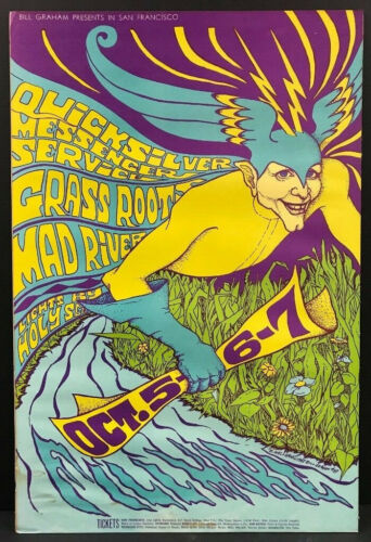 BG-87 Fillmore Auditorium 1967 Concert Poster Gras Roots Quicksilver Messenger