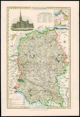 1846 - Original Antique Map of WILTSHIRE by Slater SALISBURY CATHEDRAL Colour