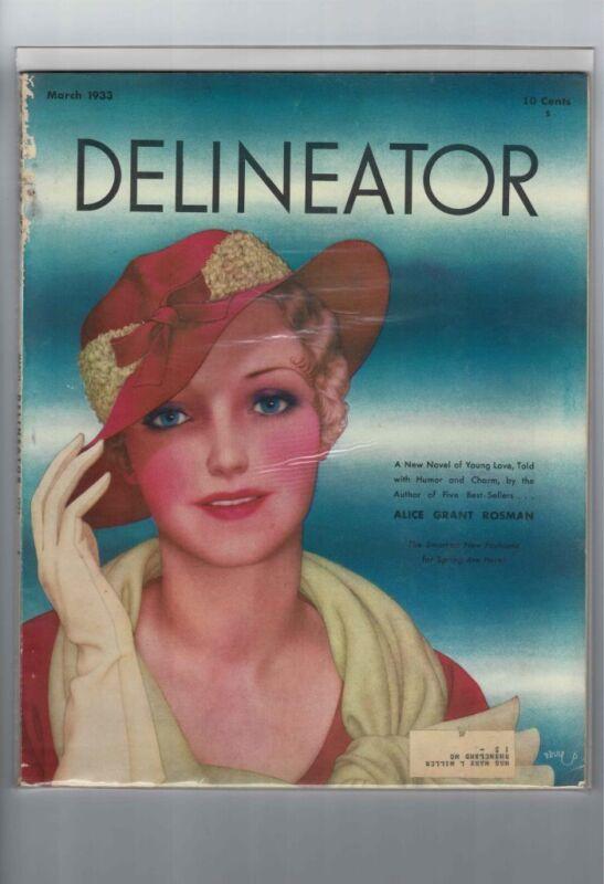 VINTAGE ORIGINAL DELINEATOR MAGAZINE MARCH 1933 PRETTY WOMAN DL-1011