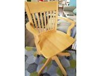 Solid, heavy pine wood captains office chair.