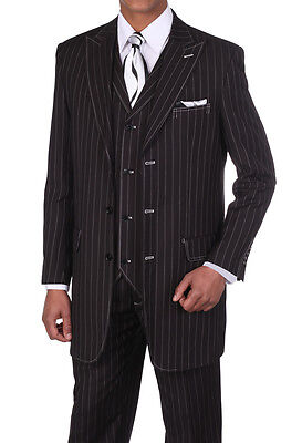 Men's 3 pcs Wool Feel Classic Gangster Pinstripe Suits with Vest 5903Black/White - Gangster Vest