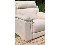 Ex-display Cream Natural Fabric Arm Chair with Chrome Feet